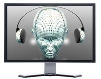 Monitor con la pantalla del metal stock de ilustración