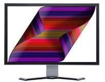 Monitor con la pantalla que se encrespa ilustración del vector