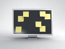 Monitor con las notas de post-it Foto de archivo