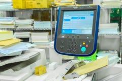 Monitor control panel of of factory printer display at fax, scan. Ner, printer machine stock image