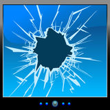 Monitor crack. Frustrated by the monitor. Cracks. Blue Screen Royalty Free Stock Image