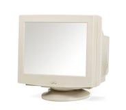 Monitor d'annata del computer isolato su bianco Fotografia Stock