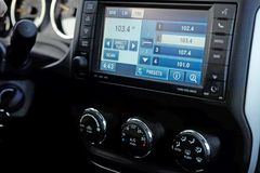 Dashboard of the car in FM receiver Royalty Free Stock Photos