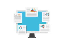monitor data. Monitor analysis data, business concept,   on white background Stock Photo