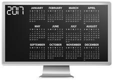 monitor de 2017 calendários ilustração do vetor