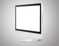 Monitor de computadora blanco delantero Imagen de archivo libre de regalías