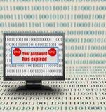 Monitor de computadora con el mensaje expirado de la contraseña imagen de archivo
