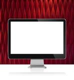 Monitor de computadora en la tabla blanca con la pared roja ilustración del vector