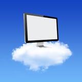 Monitor de computadora en red de computación de la nube libre illustration