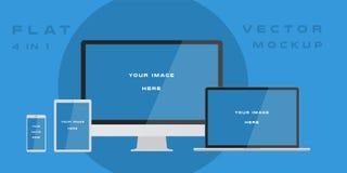 Monitor de computadora plano, ordenador portátil, tableta, smartphone aislada en fondo azul Puede utilizar para la presentación d ilustración del vector