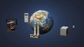 Monitor de conexión de la red global de la tierra, microonda, bombilla, lavadora, Internet de cosas libre illustration