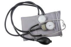 Monitor de la presión arterial. Aislado en un blanco. Imagen de archivo libre de regalías