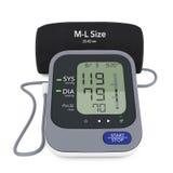 Monitor de la presión arterial de Digitaces con el puño representación 3d stock de ilustración
