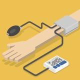 Monitor de la presión arterial a mano Foto de archivo libre de regalías