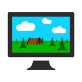 Monitor del computer con l'icona di progettazione grafica dell'immagine Fotografia Stock
