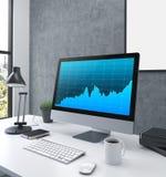 Monitor del gráfico de negocio Fotos de archivo libres de regalías