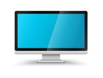 Monitor del hd del visualizzatore del computer con lo schermo blu in bianco Immagini Stock