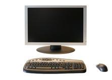 Monitor del LCD de la pantalla ancha con el teclado y el ratón sin hilos Imagenes de archivo