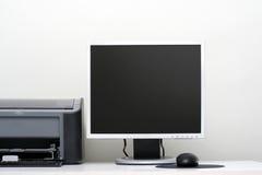 Monitor del LCD, impresora del jet y el ratón en un vector Fotos de archivo libres de regalías