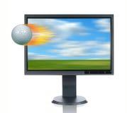 Monitor del LCD y bola de Glof Fotos de archivo