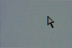 Monitor del ordenador del LCD con el cursor de la flecha Imagen de archivo libre de regalías