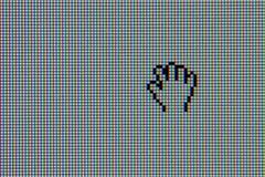 Monitor del ordenador del LCD con el cursor de la mano Imagen de archivo libre de regalías