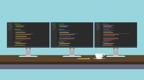 Monitor del triple del workdesk del programador con código programado Imagen de archivo libre de regalías