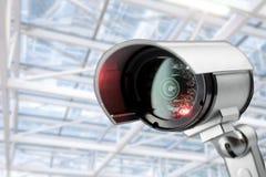 Monitor della videocamera di sicurezza del CCTV nell'edificio per uffici Fotografia Stock Libera da Diritti