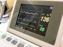 Monitor dello schermo che misura tasso cardiaco immagini stock