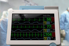 Monitor der Intensivstation ICU LCD mit einer laufenden Chirurgie Lizenzfreie Stockfotografie