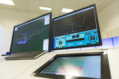 Monitor di controllo del traffico aereo Fotografia Stock