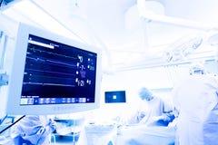 Monitor di cuore durante la cardiochirurgia Immagini Stock