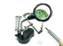 Monitor di saldatura del computer del chip Fotografie Stock Libere da Diritti