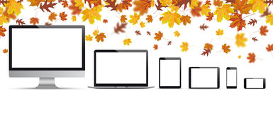 Monitor do caderno de Autumn Foliage Fall Smartphone Tablet ilustração royalty free