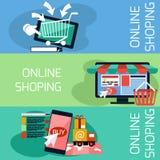 Monitor do conceito da compra do Internet com toldo ilustração stock