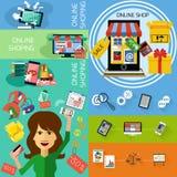Monitor do conceito da compra do Internet com toldo ilustração do vetor