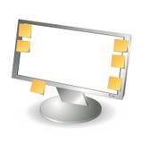 Monitor do LCD e notas de post-it Foto de Stock Royalty Free