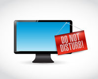 Monitor with a do not disturb hanging sign Stock Image