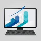 Monitor do teclado e do computador com gráfico de barra crescente e seta na tela negócio da análise, finança, conceito das estatí Foto de Stock Royalty Free