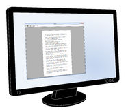 Monitor do tela plano do LCD com o tratamento de textos genérico aberto Imagem de Stock