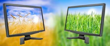 monitor dwa Obrazy Royalty Free