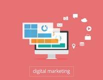 Monitor e ícones lisos da ilustração do mercado de Digitas Imagem de Stock Royalty Free