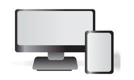 Monitor e compressa Fotografia Stock