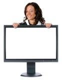 Monitor e mulher de negócios com Imagens de Stock