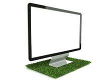 Monitor en la opinión de izquierdo de la hierba Imagen de archivo libre de regalías