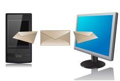Monitor en telefoon Stock Fotografie