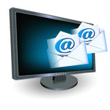 Monitor and envelope. Monitor with envelope and paper with e-mail sign stock illustration
