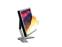 Monitor and fire Stock Photo
