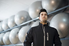 Monitor fitness trainer. In balloon room preparing training Stock Images