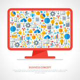 Monitor with flat business icons inside. Vector illustration. Business startup concept. Online services. Marketing concept in flat style.  Cloud computing Stock Image